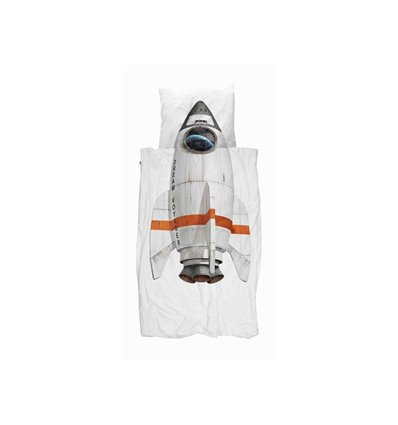 SNURK Kinderbettwäsche Rakete Bettwäschegarnitur, Grösse: 160 x 210 cm und 65 x 100 cm, Set, Verschlusstyp: Reissverschluss, Tro